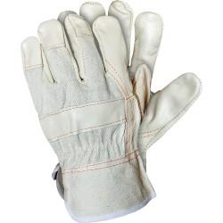 Rękawice wzmocnione skórą licową białe